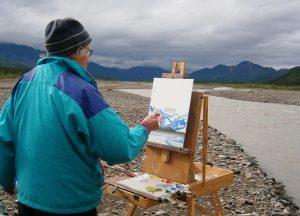 peinture avec un chevalet